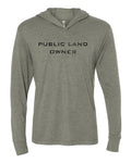 Public Land Owner Lightweight Tri-Blend Hoodie- Stone/Flag