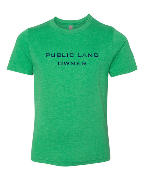 Youth Public Land Owner Shirt - Green/Logo