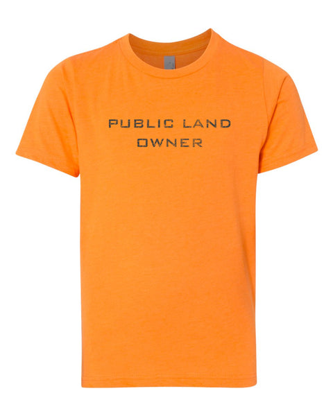 Youth Public Land Owner Shirt - Orange/Logo