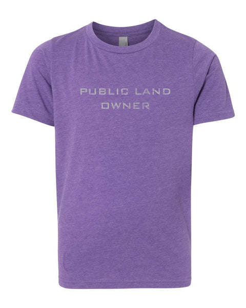 Youth Public Land Owner Shirt - Purple/Logo