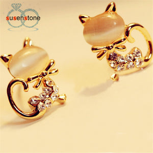 Cat Stone Crystal Rhinestone for Women Earrings