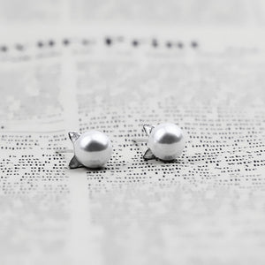 Pearl Stud Cat Earrings For Women