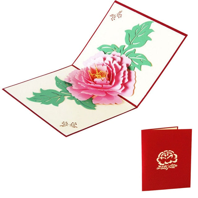 3D Pop Up Greeting Cards Peony Birthday Valentine Mother Day Christmas