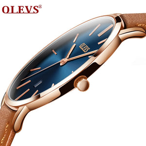 Men Luxury Wrist Watches Waterproof High Quality Genuine Leather Strap