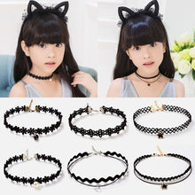 Load image into Gallery viewer, Fashion 5pcs Girls Multi-layer Lace Black Choker Necklace For Kid