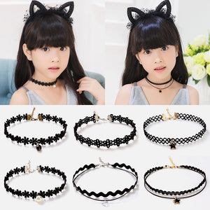 Fashion 5pcs Girls Multi-layer Lace Black Choker Necklace For Kid