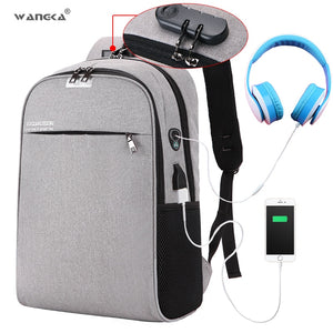 WANGKA USB Charging Laptop Backpack 15.6 inch Anti Theft Women and Men
