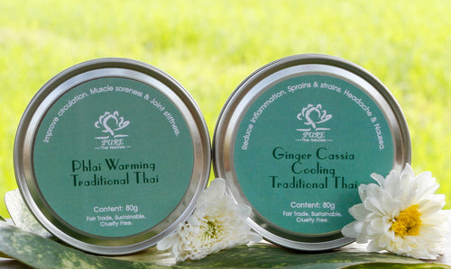 Traditional Thai Beeswax Balm Duo - Warming and Cooling - 80g