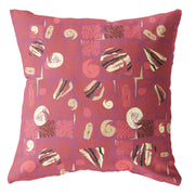 Decorative red throw pillow featuring an abstract pattern design.