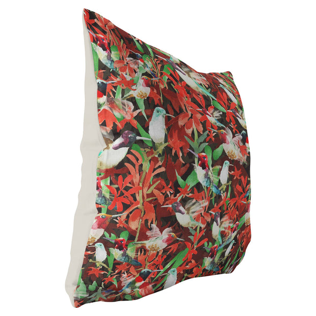 Decorative red and green throw pillow featuring an animal pattern design of hummingbirds.