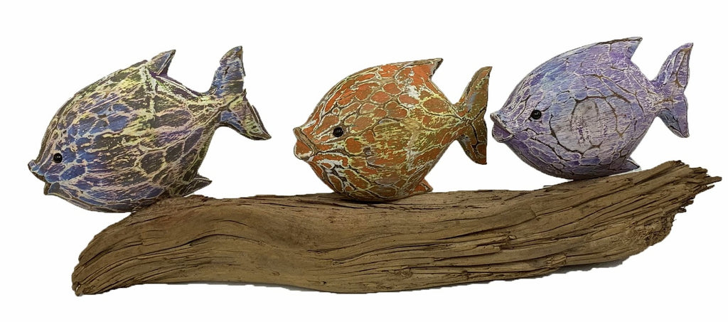 3 Wooden Fish on Driftwood Ornament
