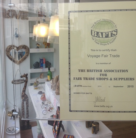 Bafts certification in the Voyage Fair trade shop window