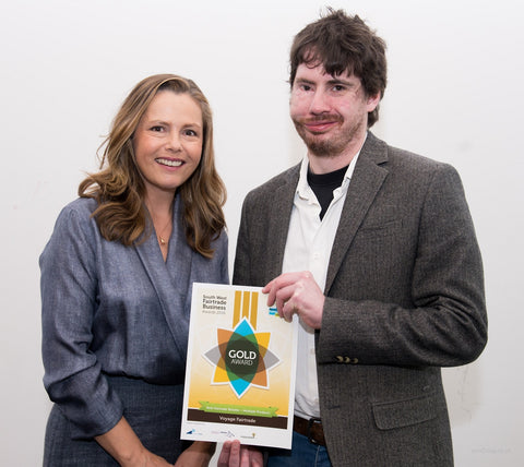 Liz Earle MBE giving Voyage the Gold Award in the Fairtrade South West Business Awards