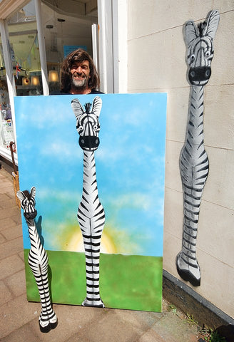 Zachary the Zebra outside Voyage Fair Trade