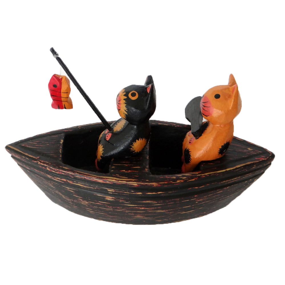 2 Wooden Cats on a Boat