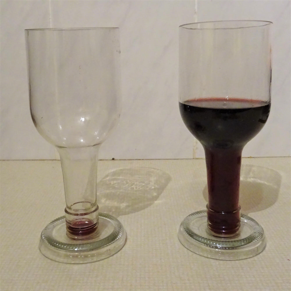Load image into Gallery viewer, Set of 2 Upcycled Wine Glasses