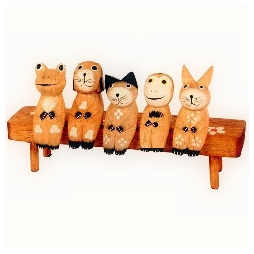 5 animals on a bench ornament