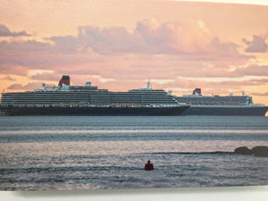 The Queen Victoria and The Queen Mary 2 in Lyme Bay (on canvas)
