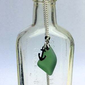 Green Sea Glass Necklace with Anchor Charm