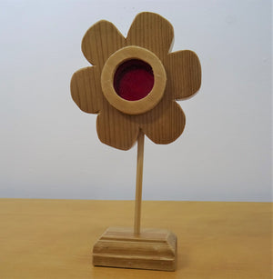 Wooden and Red Glass Flower