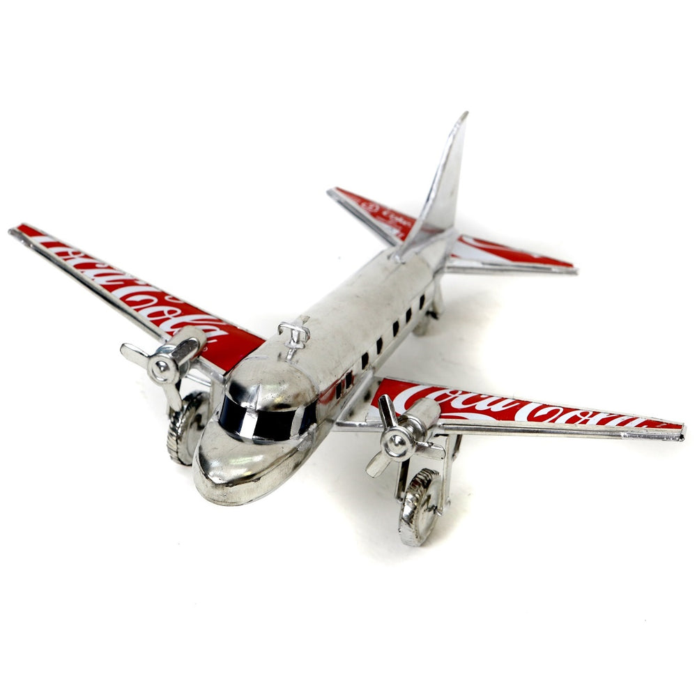 Dakota aeroplane model made from recycled tin cans