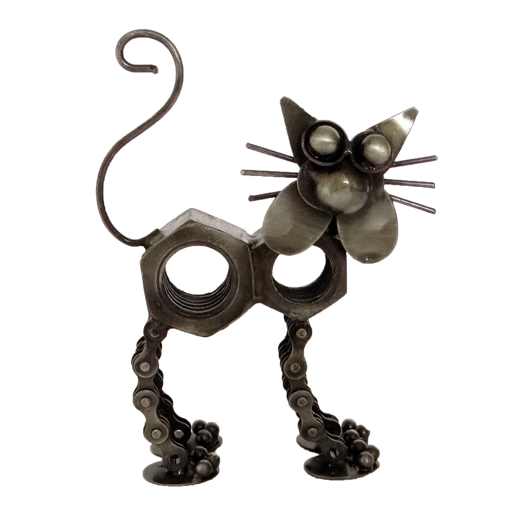 Cat Model made from recycled bike chains
