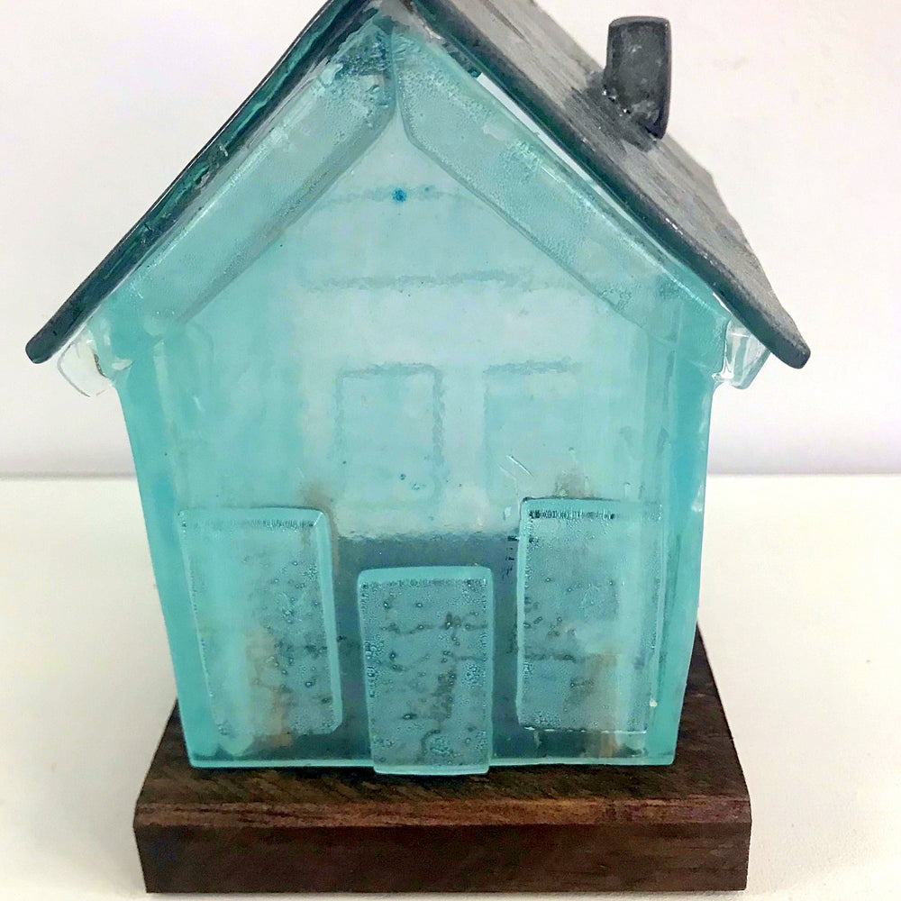 Blue Glass House Ornament