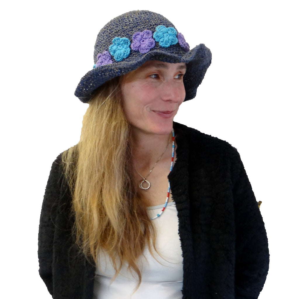 Blue & Purple Flowers on Hemp Cotton Hat