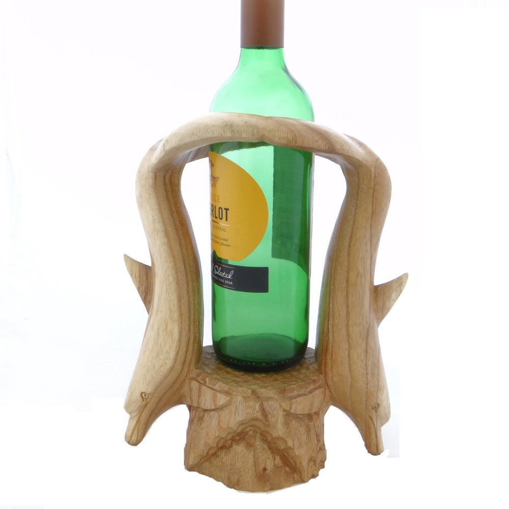 Wooden Dolphin Wine Bottle Holder