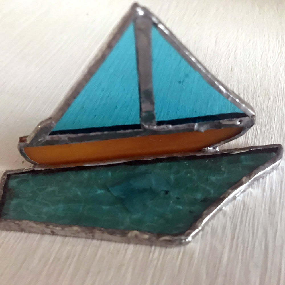 Glass Boat Ornament with Blue Sails