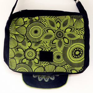 Green and Black Mandala Shoulder Bag