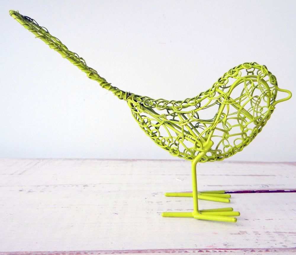 Load image into Gallery viewer, Yellow/Green Wire Bird