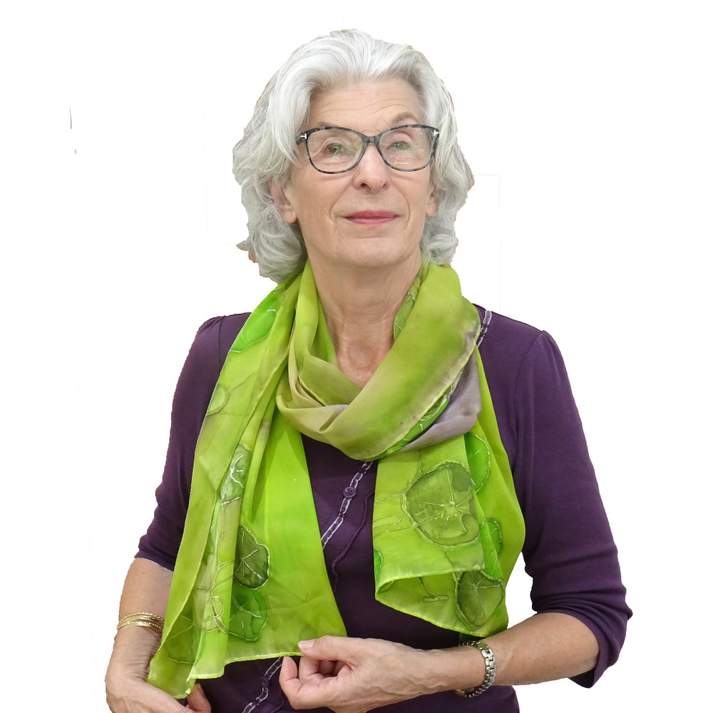 Load image into Gallery viewer, Handmade Green Silk Scarf