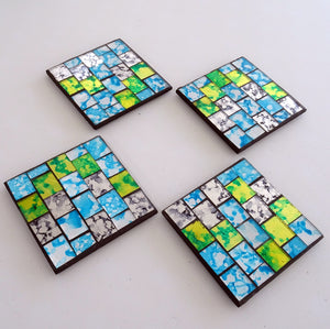 4 Green & Turquoise Mosaic Coasters