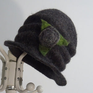 Load image into Gallery viewer, Grey Felt Hat Flower Brooch