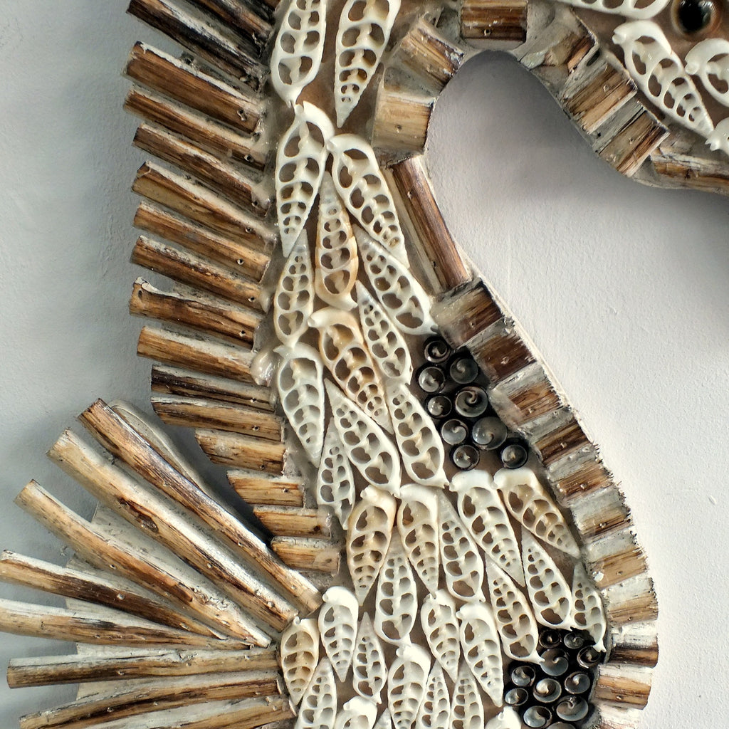 Hanging Seahorse made from wood and sea shells