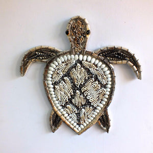 Hanging Turtle handmade from wood and shells