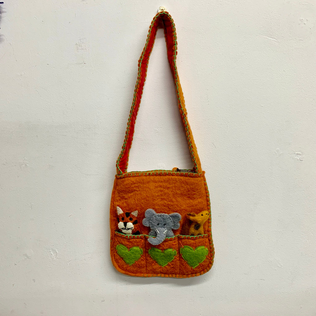 Felt Orange Bag with Finger Puppets