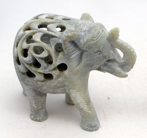 Load image into Gallery viewer, Jali Undercut Gorara Stone Elephant Ornament