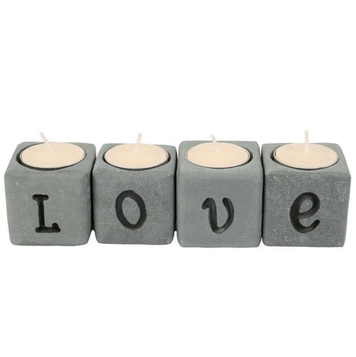 Love soapstone tea-light holder