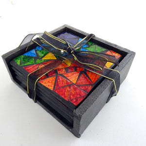 Set of 4 Multi-coloured Mosaic Coasters
