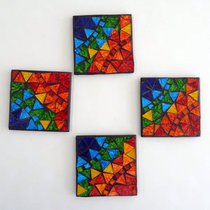 4 Multi-coloured Mosaic Coasters