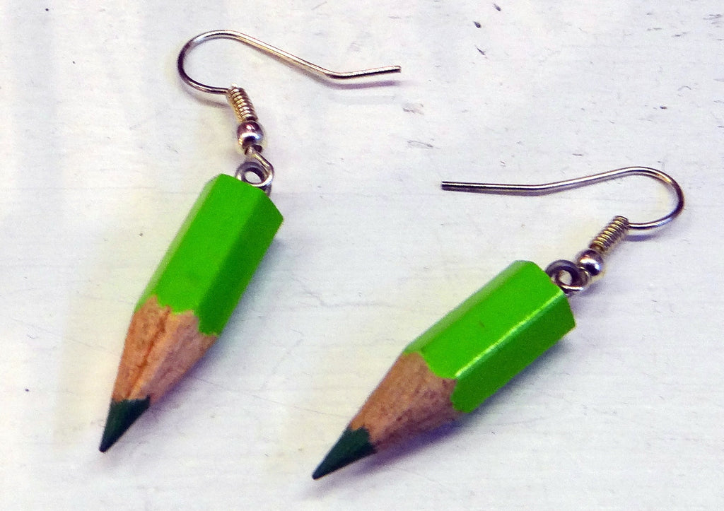 Green Pencil Earrings