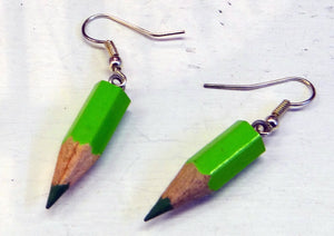 Load image into Gallery viewer, Green Pencil Earrings