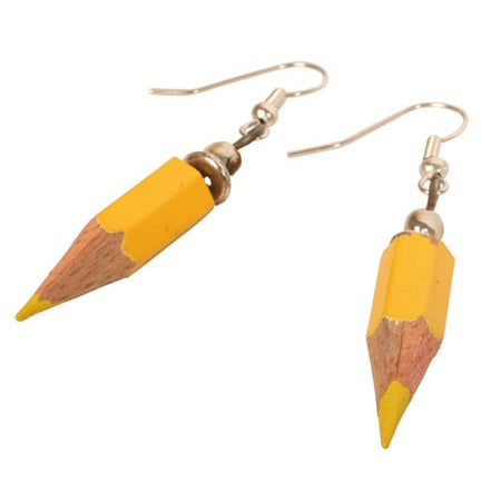 Load image into Gallery viewer, Fair Trade Yellow Pencil Earrings