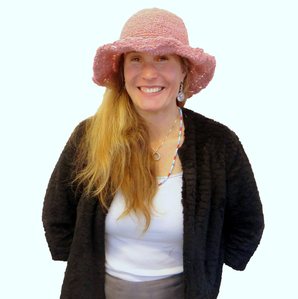 Pink Cotton Crocheted Hat with Wired Brim