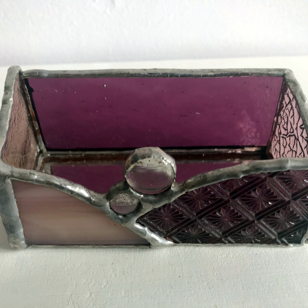 Purple Glass Card Holder