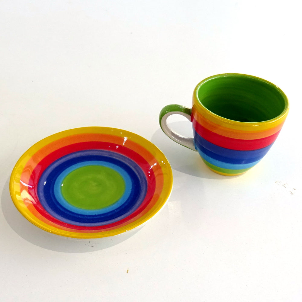 Rainbow Espresso Cup and Saucer