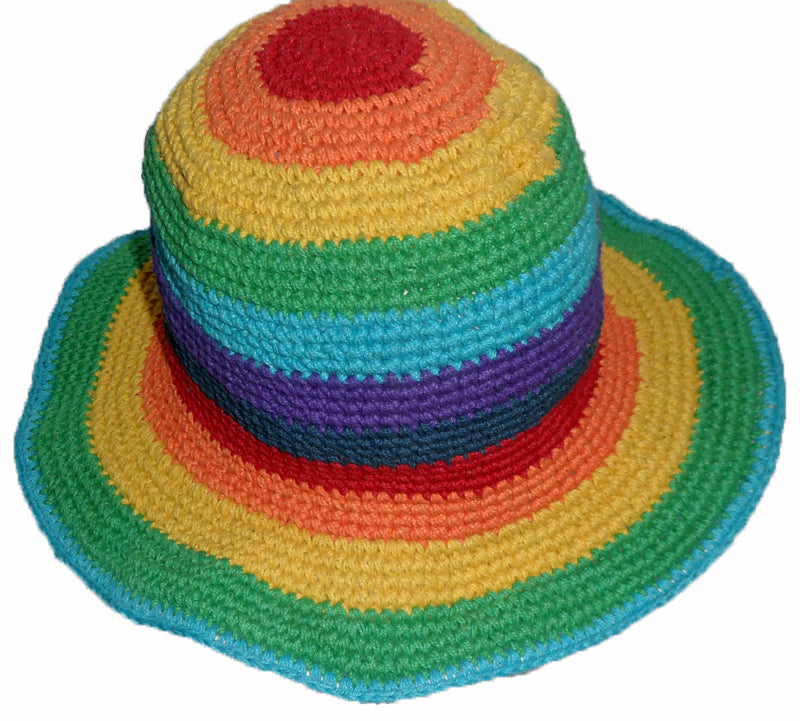 Cotton Hat with Rainbow Strips