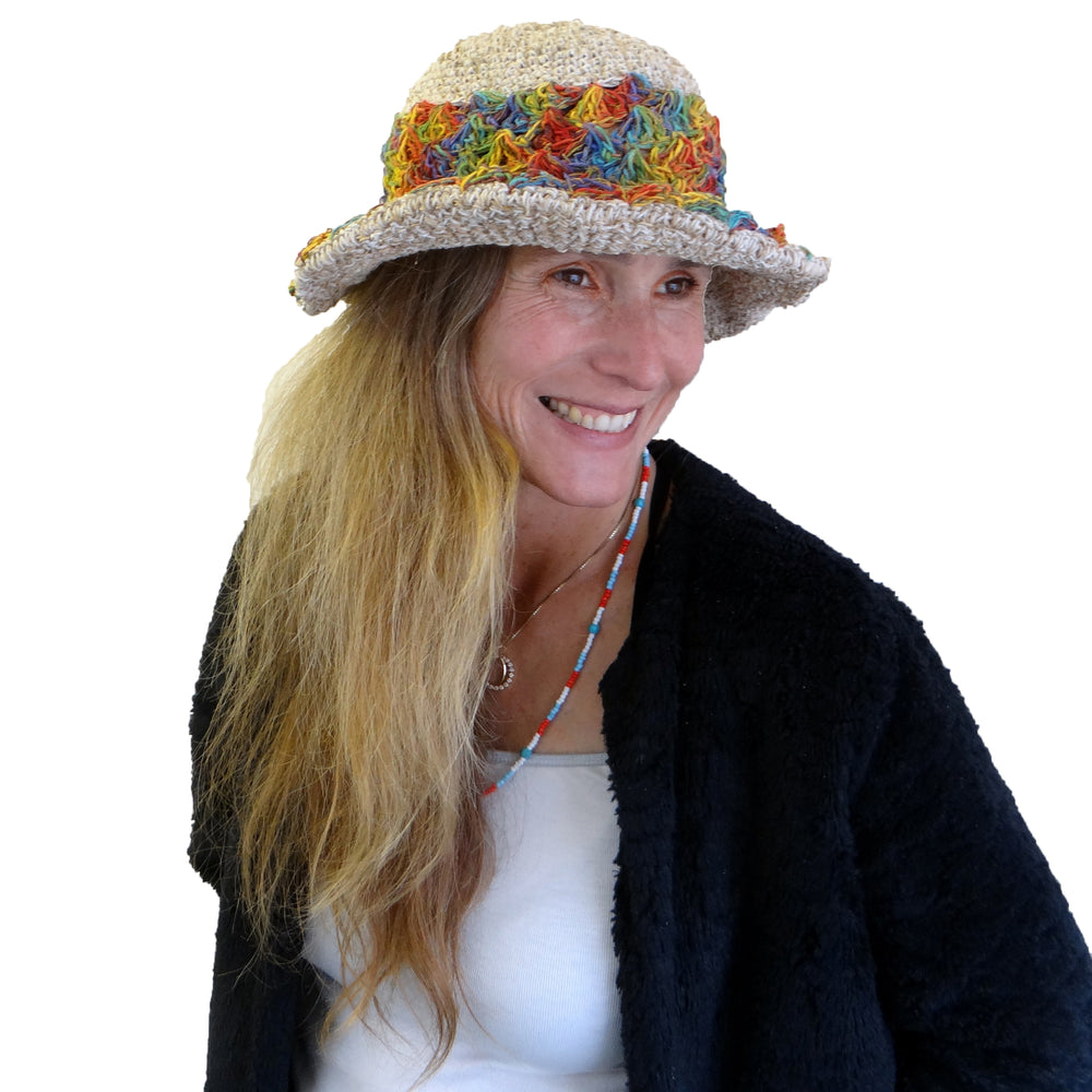 Stylish Rainbow Hemp and Cotton Hat